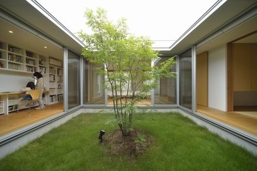 シンボルツリーを囲むロの字型のコートハウス