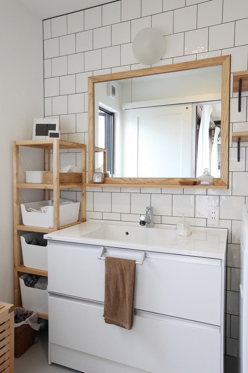 収納ボックスのあるおしゃれな洗面所