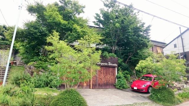 赤い車の停まった緑のあるビルトインガレージのある家