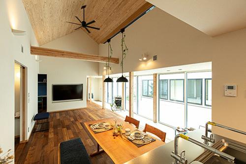 勾配天井の木の平屋